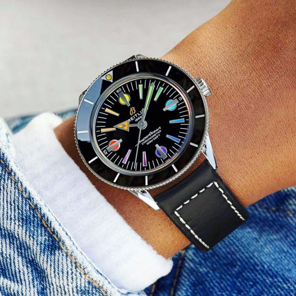 Breitling Superocean Heritage 57 Limited Edition 'Rainbow' wristshot tan skin, wearing jeans