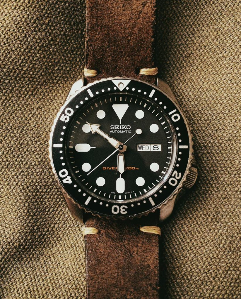 Seiko Automatic Dive Watch SKX007 rustic leather strap